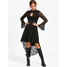 2017 flare sleeve high low semi formal dress black s in