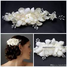 cheap wedding bridal hair flower pearls lace bridal hair comb