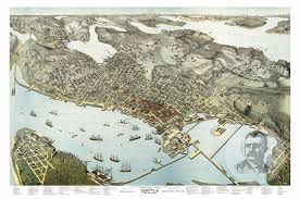 seattle map seattle wa historical map 1891 ted s vintage