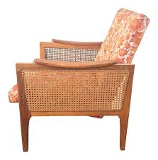 Lounge Chair Dimensions Standard Mid Century Upholstered Cane Lounge Chair Chairish