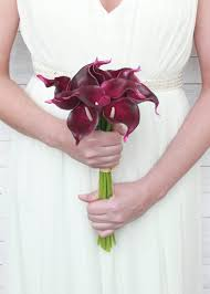calla lilies bouquet burgundy purple calla bouquet real touch blooms afloral