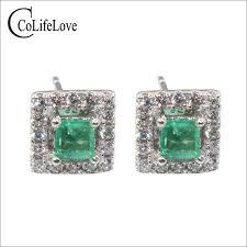 emerald stud earrings dazzling emerald stud earrings 2 mm si grade emerald