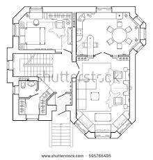 architecture plans black white floor plan modern apartment stock vector 595766405