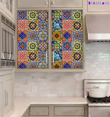 kitchen cabinet drawer tile decal mexican talavera by bleucoin
