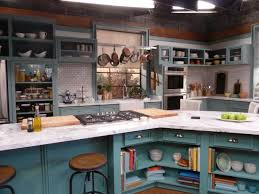 On The Set Of The Kitchen Teal Cabinets Kitchens And Kitchen Sets - Kitchen cabinet sets