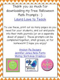 free k 1 halloween math journal prompts by laura love to teach tpt