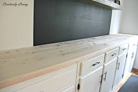 Diy Wood Kitchen Countertops by Torched Diy Rustic Wood Counter Top For Under 50 By Creatively Living