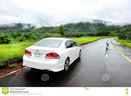 honda white car white honda civic car in the wet road editorial stock photo