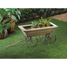 decor garden cart planter wagon wheels box shelf yard outdoor home