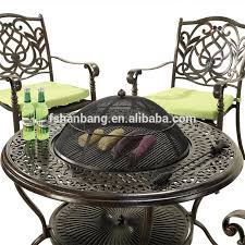 Fire Pit And Chair Set Outdoor Garden 4 Person Cast Aluminum Patio Deep Seating Bbq Fire