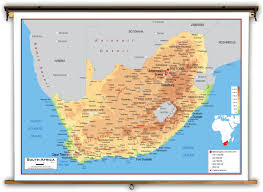 Africa Map With Capitals by South Africa Physical Educational Wall Map From Academia Maps