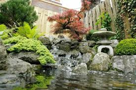 Waterfall Backyard Outdoor Living Rock Japanese Garden Design With Fish Pond And