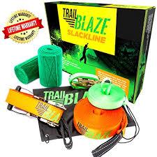 slackline kit with tree protectors 50 ft easy set up slack line