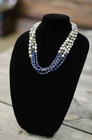natural bead necklace images Blue natural lapis 8mm bead multi strand seed necklace sozo jpg