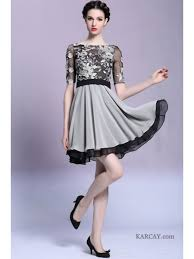 short sleeve short black silver applique prom evening cocktail