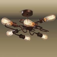 vintage copper ceiling light antique copper finished 6 light unique shape led semi flush ceiling