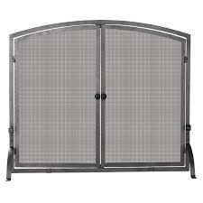 uniflame single panel curved pewter fireplace screen hayneedle