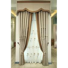 Beige Linen Curtains Emerald Green Patterned Linen Elegant Pastoral Curtains And Drapes