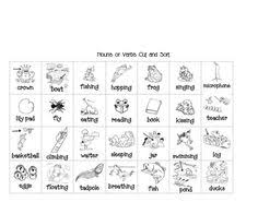nouns and action verbs worksheets action verbs picture cards