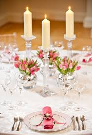 soft pink tulips and candles for spring table decorations