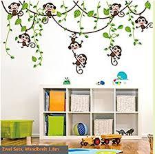 kinderzimmer wandsticker hallobo wandtattoo affe schaukel affen wandaufkleber monkey