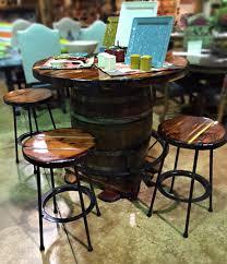 whiskey barrel table for sale whiskey barrel pub table with barstools santa fe company okc