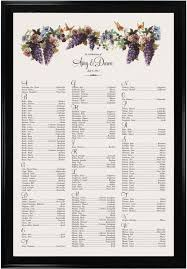 seating chart for wedding at a vineyard with grapes illustration