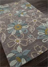 Gray Blue Area Rug Jaipur Brio Chain Tufted Floral Pattern Polyester Gray