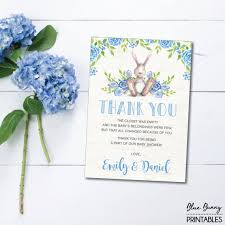 Thank You Cards For Baby Shower Gifts - boy bunny thank you card woodland baby shower printable thank you