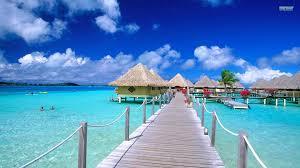 ocean matira point bora bungalows sea deck sky french polynesia