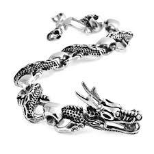 stainless mens bracelet images Mens goth skull dragon head stainless steel bracelet jpg