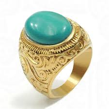 fashion gem rings images Men 39 s women 39 s gold ring natural oval black onyx turquoise gem jpg