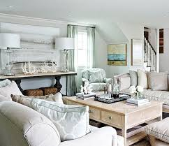 coastal light blue and neutral beach house living room beach