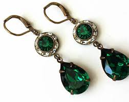 emerald drop earrings emerald drop earring etsy