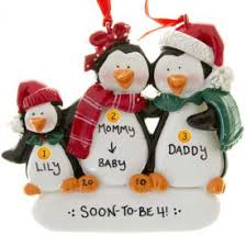 expecting penguin family of 3 ornament personalized ornaments