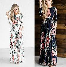 women u0027s fashion spring 3 4 sleeve classic rose maxi dresses long