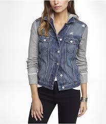 jean sweater jacket sweatshirt sleeve hooded denim jacket express my style