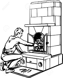 man near the fireplace on white royalty free cliparts vectors