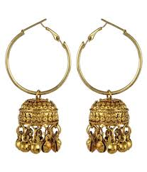 buy jhumka earrings online crazytowear traditional golden hoop with jhumka earring available