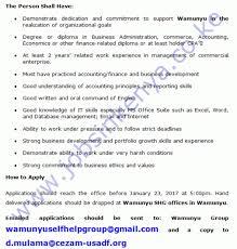 wamunyu self help accountant vacancy in machakos county a
