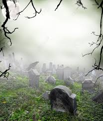 old ruined graveyard in mystery fog stock photo picture and