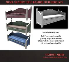 second life marketplace unholy mesh shabby chic daybed builders kit