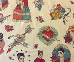frida kahlo mexico art viva love tattoo painting quilting cotton