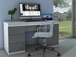 bureau gris laqué bureau loic ii leds 1 porte 3 tiroirs blanc gris