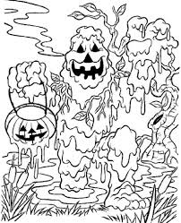monster spooky halloween coloring pages for kids hallowen