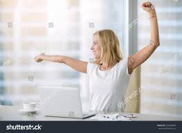 Office Desk Workout by Young Attractive Woman Modern Office Desk Stock Photo 529004890
