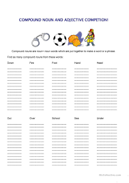 20 free esl compound nouns worksheets