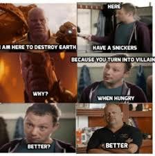 Snickers Commercial Meme - dank reign 17 dangerously hilarious mcu villain memes ultimate