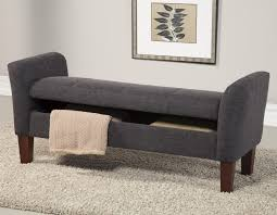 Upholstered Benches Bedroom Ideas Gray Canvas Fabric Upholstered Bench With Storage