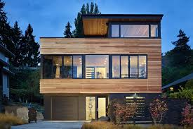 elegant simple design house modern exterior with wood and glass
